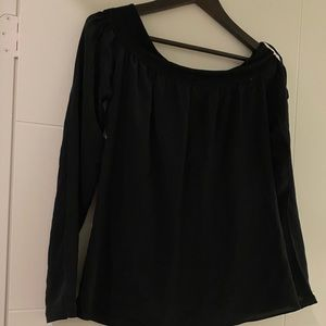 New Bailey 44 Off The Shoulder Black Silk Top sz m
